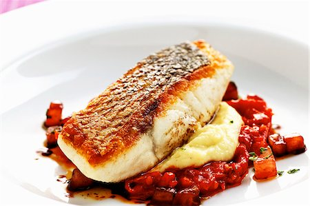Bass with fennel and tomato confit Stock Photo - Premium Royalty-Free, Code: 659-06152991