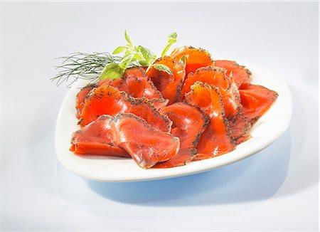 smoked - Smoked salmon with herbs Stock Photo - Premium Royalty-Free, Code: 659-06153424