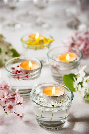 Spring Table Tea Lights Stock Photo - Premium Royalty-Free, Code: 659-06184017