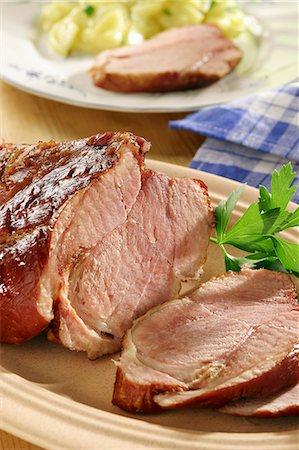salt - Roast pork, sliced Stock Photo - Premium Royalty-Free, Code: 659-06185707