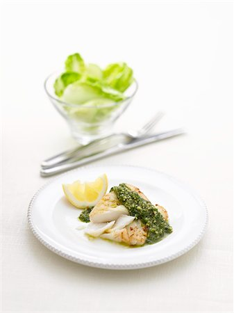 recipe - Cod with pesto and lemon Stock Photo - Premium Royalty-Free, Code: 659-06188505