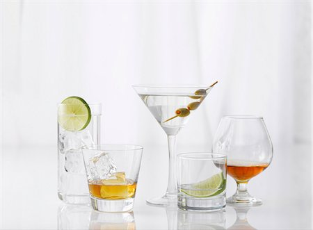 Five Assorted Glasses with Assorted Liquors Stock Photo - Premium Royalty-Free, Code: 659-06306492