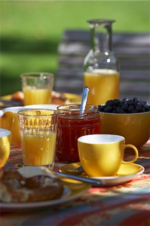 set - Summer breakfast in the garden with orange juice and jam Stock Photo - Premium Royalty-Free, Code: 659-06307011