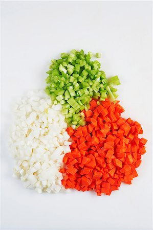 Holy Trinity Chopped Onion, Carrot and Bell Pepper Stock Photo - Premium Royalty-Free, Code: 659-06307436