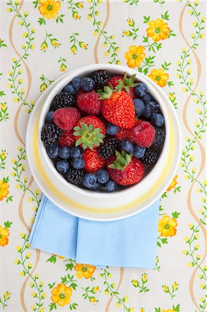 Bowl of Mixed Fresh Berries; From Above Stock Photo - Premium Royalty-Free, Code: 659-06373666