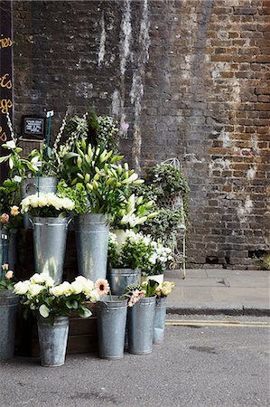 decorations - A flower stall with zinc vases in front of an old brick wall Stock Photo - Premium Royalty-Free, Code: 659-06494325