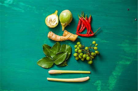 Ingredients for tom ka gai (Thai chicken and coconut soup) Stock Photo - Premium Royalty-Free, Code: 659-06494562
