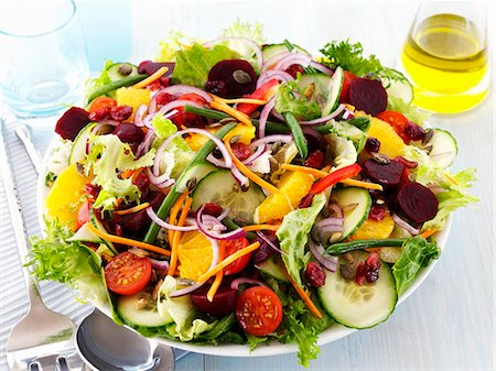 salad - A colourful salad with oranges Stock Photo - Premium Royalty-Free, Code: 659-06494805