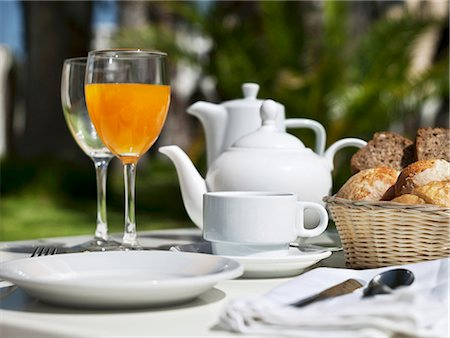 set - Breakfast on a garden table Stock Photo - Premium Royalty-Free, Code: 659-06494834