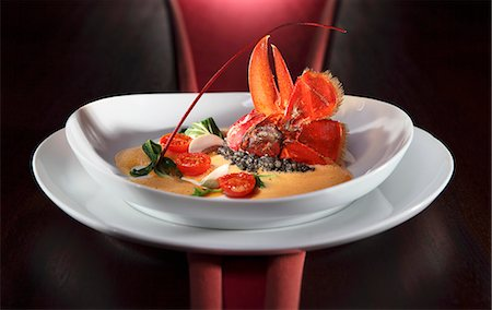 food - Lobster with pearl barely risotto, lobster foam, mushrooms, cherry tomatoes and spinach Stock Photo - Premium Royalty-Free, Code: 659-06495501