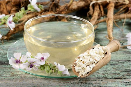 pharmaceutical plant - Marsh mallow root tea, roots and flowers Stock Photo - Premium Royalty-Free, Code: 659-06495782
