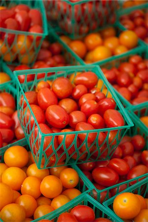 food stalls - Cherry Tomatoes in Small Plastic Crates at a Farmers Market Stock Photo - Premium Royalty-Free, Code: 659-06493683