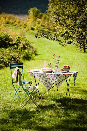 set - A Table Set Outside in the Country with a Peach Dessert Stock Photo - Premium Royalty-Free, Code: 659-06671011
