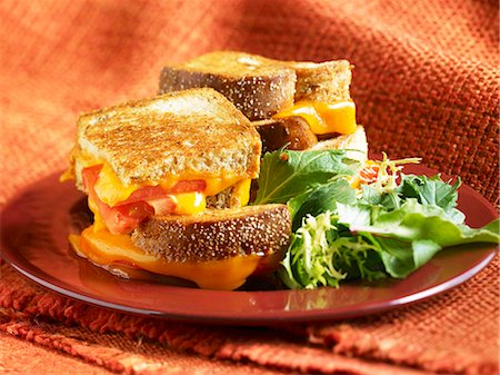 food - Grilled Cheese and Tomato Sandwich;Quartered and Stacked; Side Salad Stock Photo - Premium Royalty-Free, Code: 659-06901391