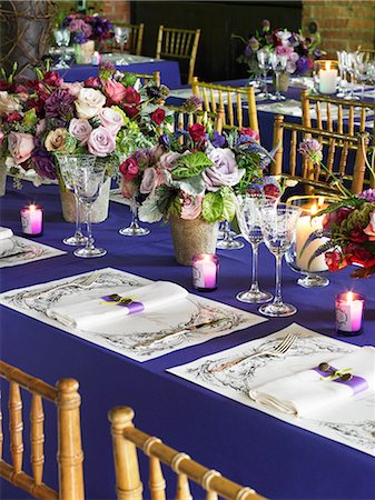 decorations - Tables Set for a Wedding Reception Stock Photo - Premium Royalty-Free, Code: 659-06901598