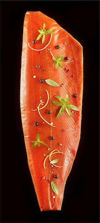 smoked - Smoked side of salmon with herbs and spices Stock Photo - Premium Royalty-Free, Code: 659-06902099