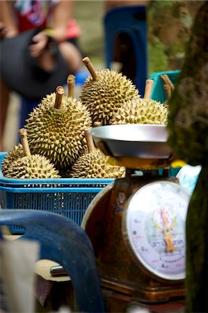 exotic outdoors - Market stall with durian fruit Stock Photo - Premium Royalty-Free, Code: 659-06902491