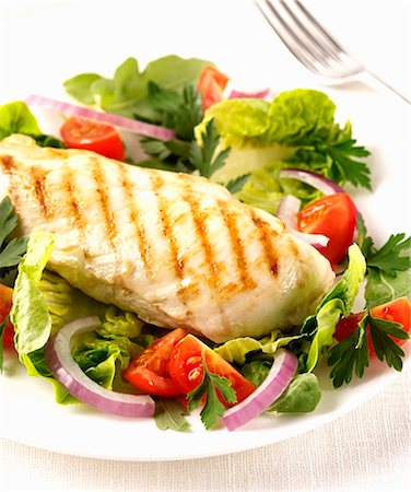 Grilled chicken breast with salad Stock Photo - Premium Royalty-Free, Code: 659-06903291
