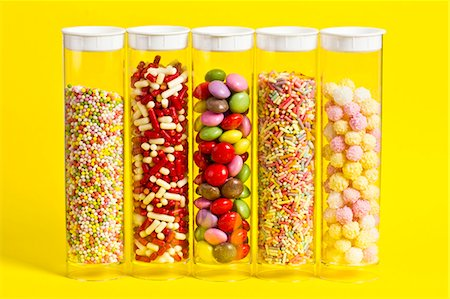 decoration - Colourful sugar decorations in sealable plastic tubes Stock Photo - Premium Royalty-Free, Code: 659-06903384