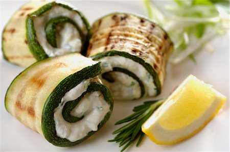 Grilled zucchini rolled up with ricotta - herb paste Stock Photo - Premium Royalty-Free, Code: 659-06903973