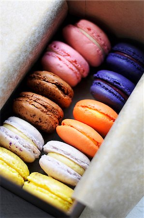 sweet - Assorted Colorful Macaroons in a Paper Lined Box Stock Photo - Premium Royalty-Free, Code: 659-07026823