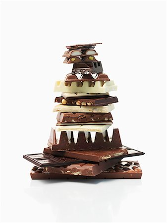 sweets - A stack of chocolate pieces Stock Photo - Premium Royalty-Free, Code: 659-07028188