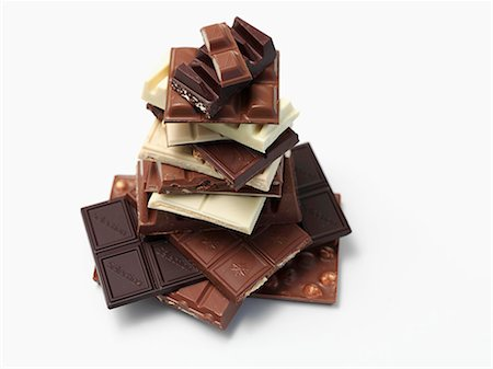 A stack of chocolate pieces Stock Photo - Premium Royalty-Free, Code: 659-07028189