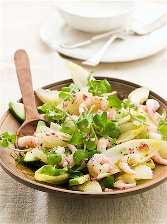 salad - Chicory salad with grapefruit, prawns and avocado Stock Photo - Premium Royalty-Free, Code: 659-07028706