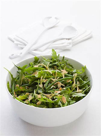 salad - Green beans with rocket and sliced almonds Stock Photo - Premium Royalty-Free, Code: 659-07028708