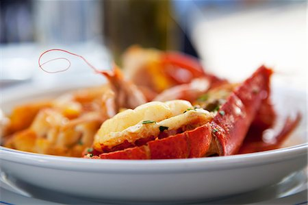 Lobster in a White Bowl; On an Outdoor Table at a Restaurant in the South of France Stock Photo - Premium Royalty-Free, Code: 659-07068601