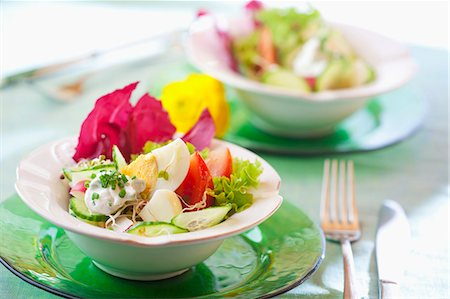 salad - Egg salad with cucumber, tomatoes, chives and radicchio Stock Photo - Premium Royalty-Free, Code: 659-07069380