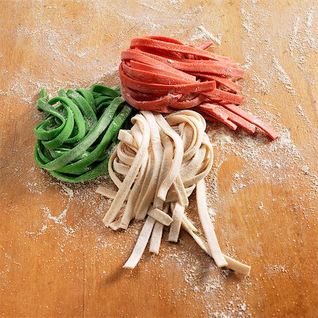 dyed - Homemade Green White and Red Noodles Stock Photo - Premium Royalty-Free, Code: 659-07597015