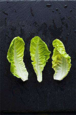 Three lettuce leaves Stock Photo - Premium Royalty-Free, Code: 659-07598752
