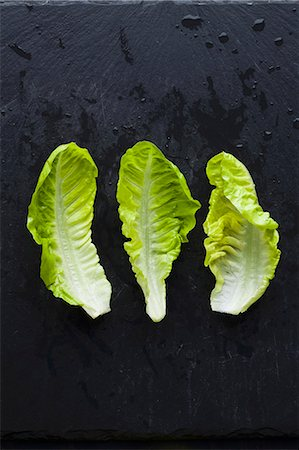 Three lettuce leaves Stock Photo - Premium Royalty-Free, Code: 659-07598752