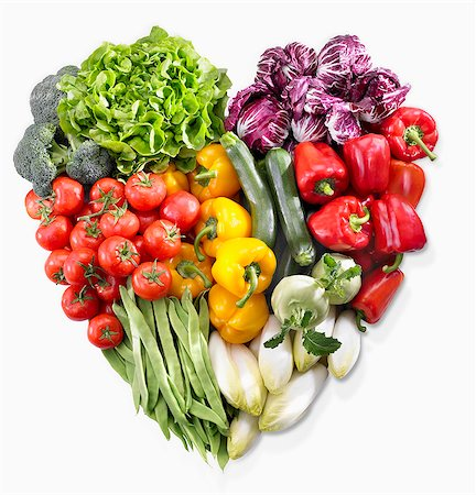 A heart made of vegetables and lettuce Stock Photo - Premium Royalty-Free, Code: 659-07599290