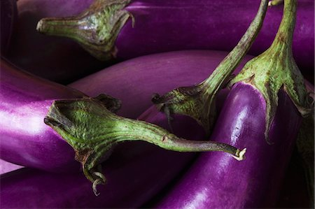 Five Fresh Organic Eggplants from the Garden Stock Photo - Premium Royalty-Free, Code: 659-07609563