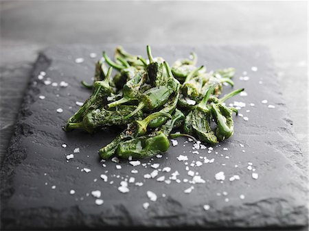 salt - Padron Peppers and rock salt Stock Photo - Premium Royalty-Free, Code: 659-07609746