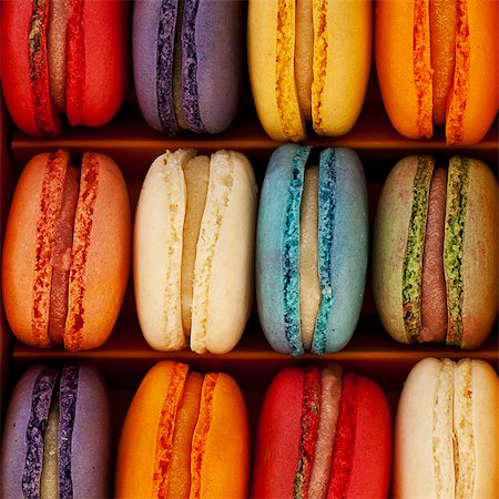 sweet - A box of multi coloured macaroons Stock Photo - Premium Royalty-Free, Code: 659-07610133