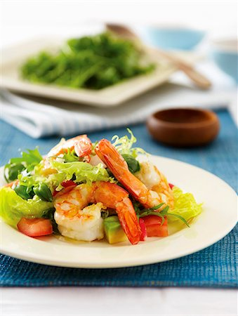 salad - Prawn salad with asparagus and avocado Stock Photo - Premium Royalty-Free, Code: 659-07610308