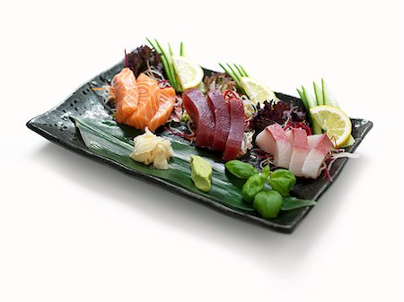 rectangle - Raw fish with ginger and wasabi paste Stock Photo - Premium Royalty-Free, Code: 659-07610354
