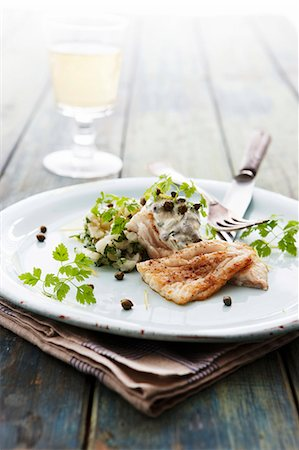 season - Cod fillet with tzatziki, capers and chervil Stock Photo - Premium Royalty-Free, Code: 659-07739697