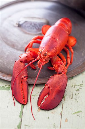 A whole boiled lobster on pot lid Stock Photo - Premium Royalty-Free, Code: 659-07958890