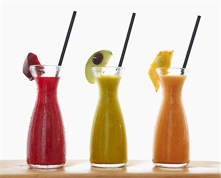 sweet   no people - Three different smoothies in carafes Stock Photo - Premium Royalty-Free, Code: 659-07959234