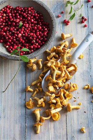 Chanterelle mushrooms and cranberries Stock Photo - Premium Royalty-Free, Code: 659-07959251