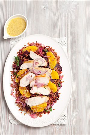 salad - Buckwheat and beetroot salad with oranges and grilled chicken breast Stock Photo - Premium Royalty-Free, Code: 659-07959720