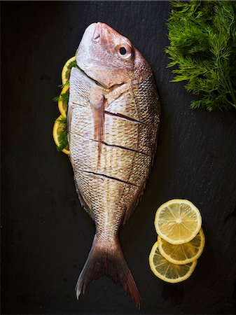 food - A red snapper on a black slate with lemon slices Stock Photo - Premium Royalty-Free, Code: 659-08147051