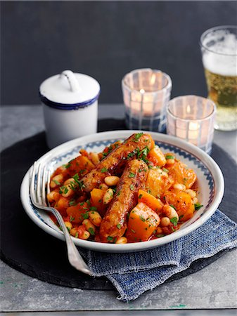 slate - Bean stew with sweet potatoes and sausage Stock Photo - Premium Royalty-Free, Code: 659-08147920