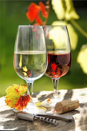 A glass of red wine and a glass of white wine Stock Photo - Premium Royalty-Free, Code: 659-08148261
