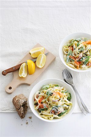 recipe - Tagliatelle with salmon and vegetables Stock Photo - Premium Royalty-Free, Code: 659-08419144
