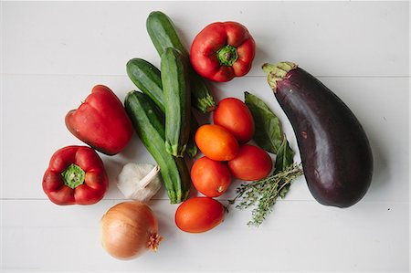 stock photograph - Vegetables and herbs for ratatouille Stock Photo - Premium Royalty-Free, Code: 659-08512763
